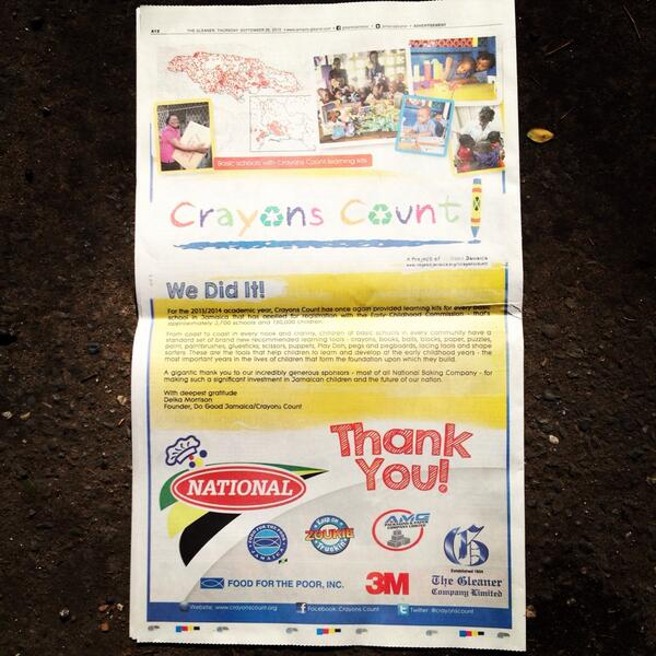 Full Page Ad in the Gleaner