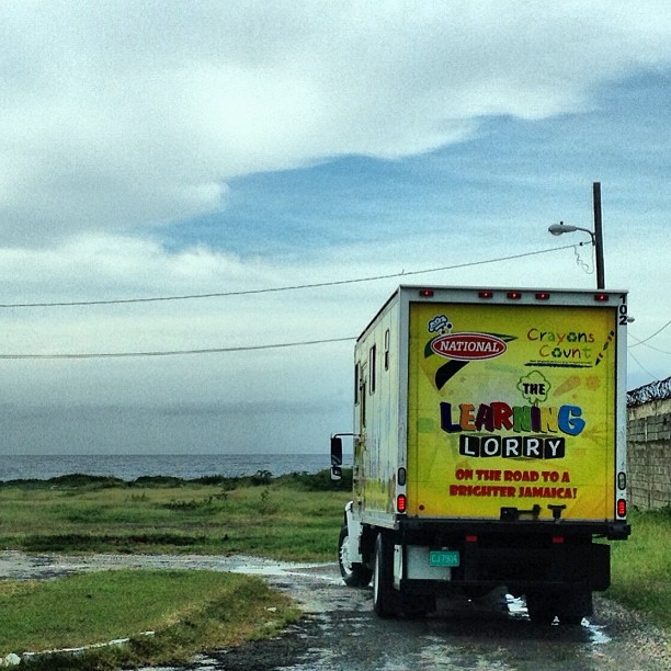 The Learning Lorry by the sea side, we're on our way