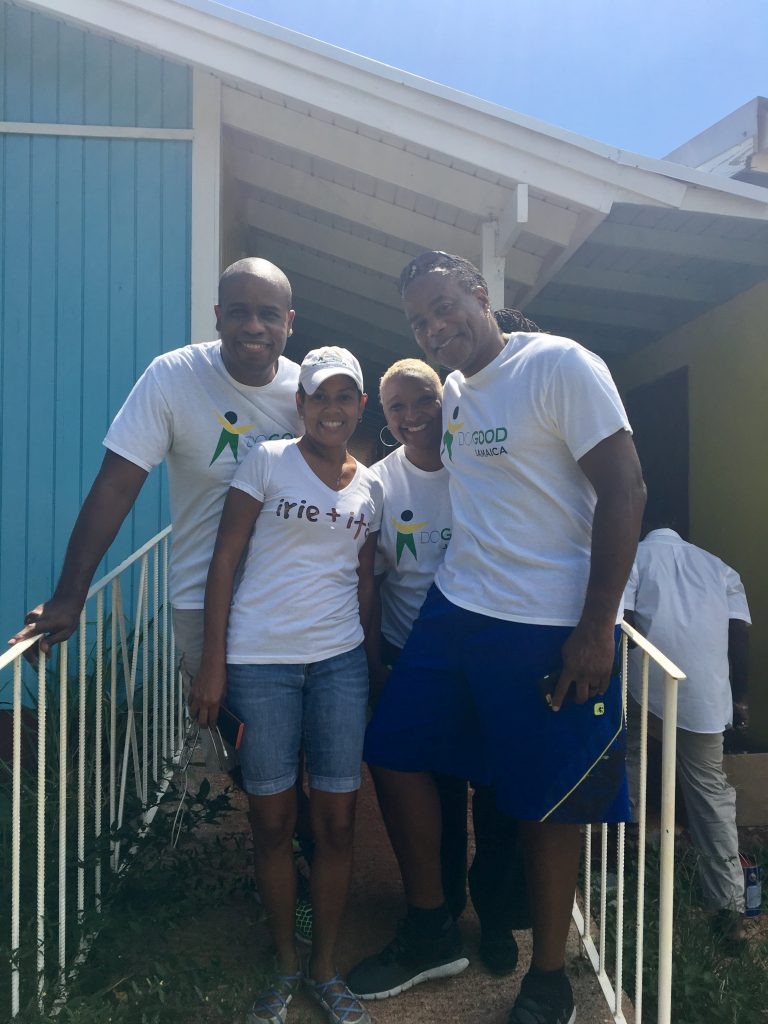 L to R: Marlon Hill, former Diaspora Advisory Board member and Miami attorney, Deika Morrison, co-founder of Do Good Jamaica and irie + ital with volunteers Marcia Narine Weldon, University of Miami law professor and James Weldon, Miami firefighter, in front of Pedro Plains Infant School at the start of Day 1 activities