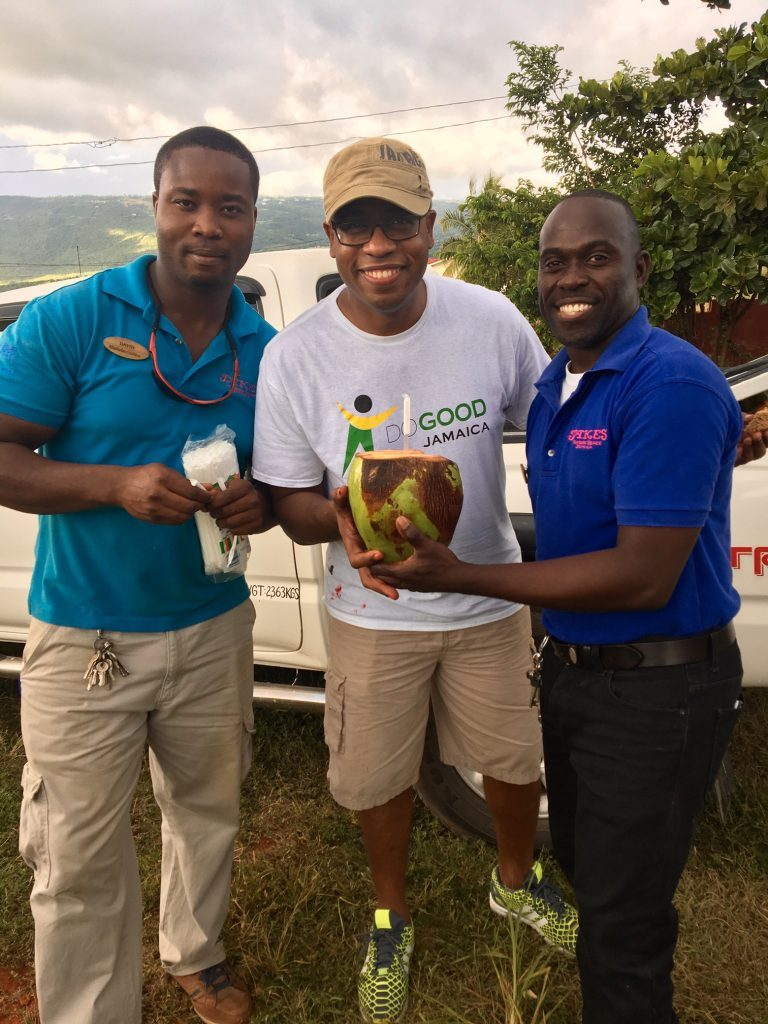 Marlon Hill enjoying a fresh coconut on-site thanks to Jakes Hotel
